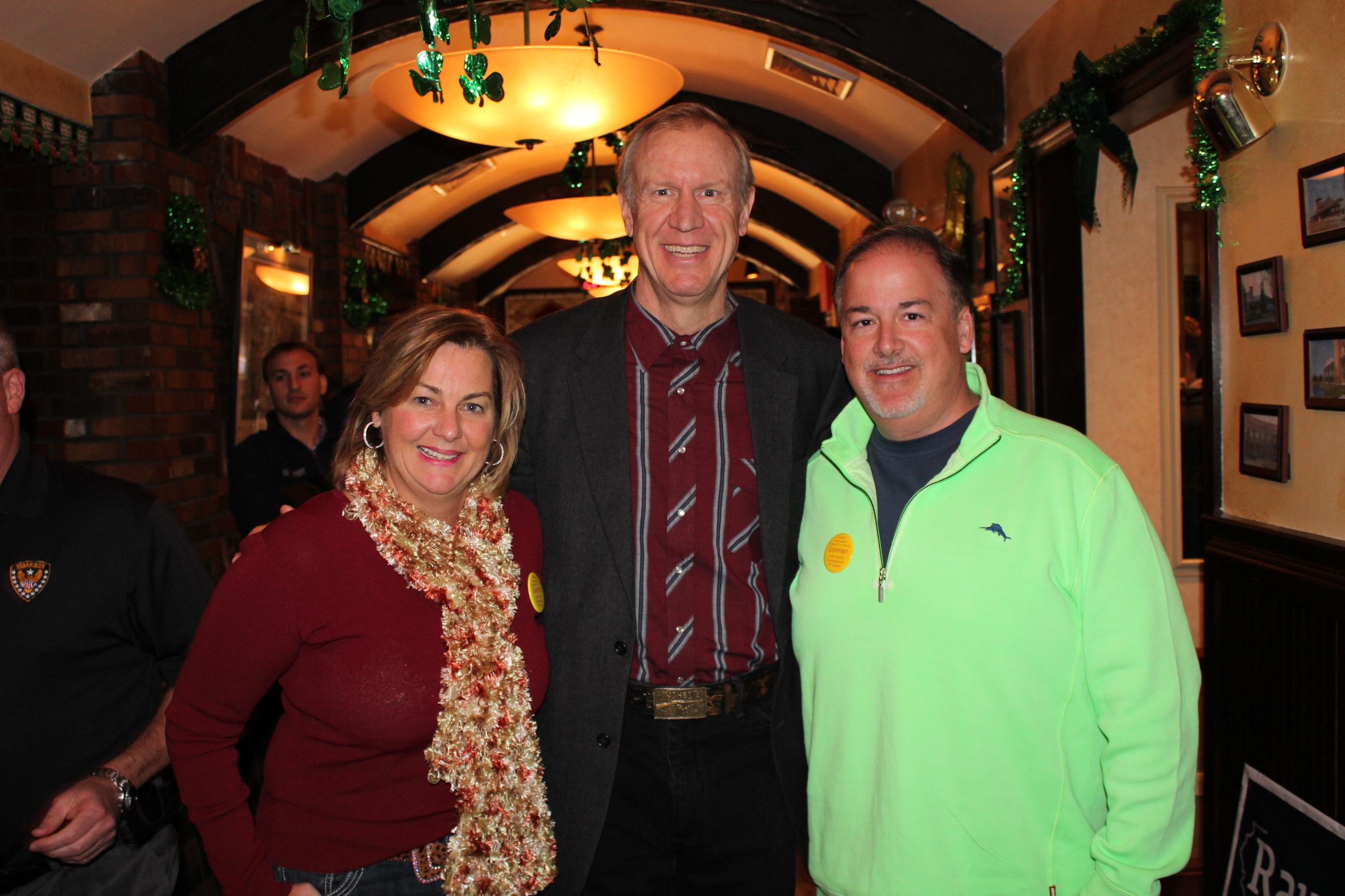 Liz Gorman, Bruce Rauner, Sean Morrison in March 2014