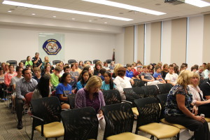 Parents and students packed an Orland Fire Protection District community-wide meeting on drug and substance abuse Tuesday July 15, 2014