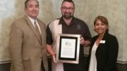 President Dominick, Town Building Department Recognized for Collaborative Efforts with Realtors and the Public. From left, Brian Bernardoni, Tom M. Tomschin, Alcia Ruiz