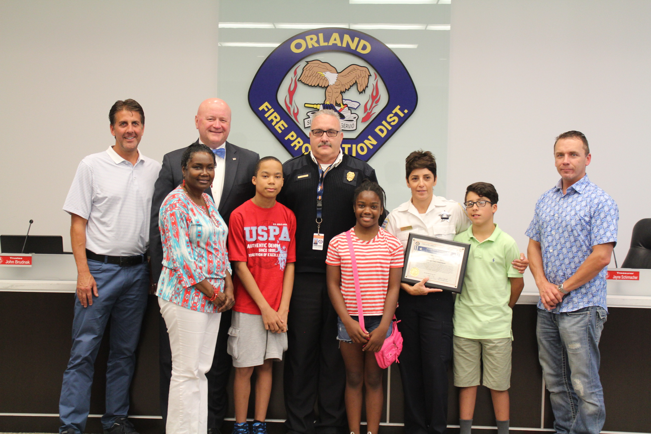 Orland Fire honors officer for saving boy's life